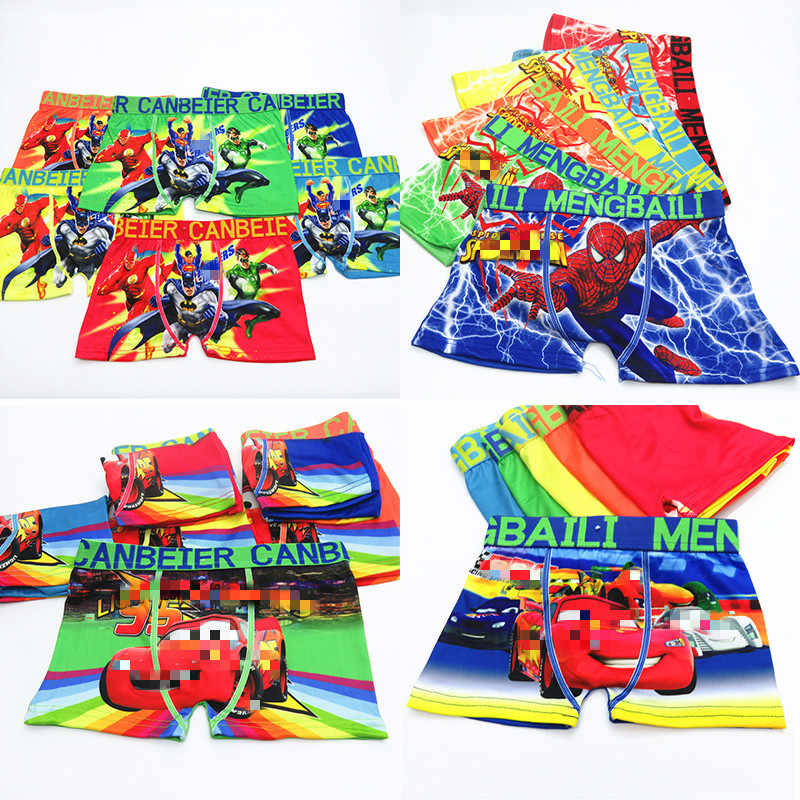 4 unids/lote ropa interior para niños nuevos boxeadores calzoncillos super hero Spiderman Car kids Mixed cotton pantis panty Briefs infantes adolescentes