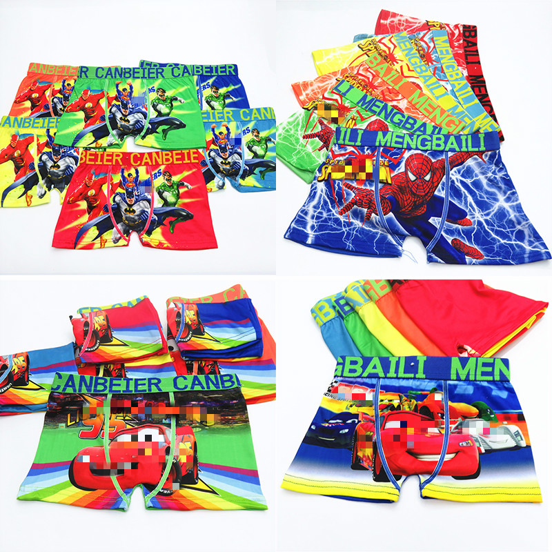 4pcs/lot New Boys Underwear Boxers Underpants Super Hero Spiderman Car Kids Mixed Cotton Panties Panty Briefs Infant Teenagers