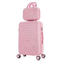 20''24/28''Travel bavul tekerlekler arabası bagaj seti karikatür kedi haddeleme bagaj kadınlar taşıma ons bavul kabin tekerlekli çanta