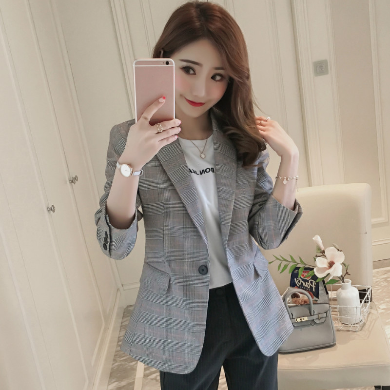 Temperament Casual High Quality Women's Suit Blazer Trendy One-button Slim Fit Full-sleeve Ladies Jacket Office Suit Female 2019