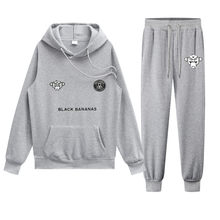 Brand Two Pieces Sets Hooded Tracksuit Men/Women Home Sportswear Gyms Black Hoodies+Sweatpants Bananas Joggers Sweatshirts