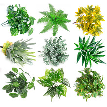Simulation flower green Plants leaves Indoor Outdoor Home Office Garden Decor Artificial Fake Flower Leaf Foliage props