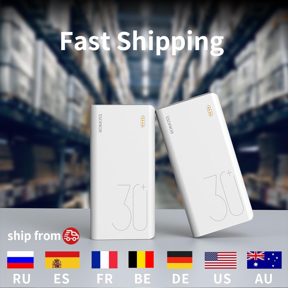 ROMOSS Sense 8+ Power Bank 30000mAh QC PD 3.0 Fast Charging Powerbank 30000 mAh External Battery Charger For iPhone Xiaomi Mi 6