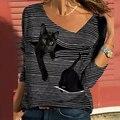 Spring/Autumn 2021 Vintage Cat Striped Print Women T Shirt Elegant Square Collar Pullover Tops Fashion Plus Size Long Sleeve