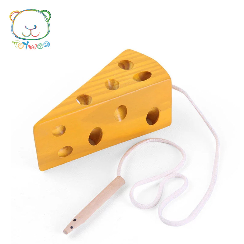 CHILDREN'S Early Education Toy Threading Cheese Mouse Wear Cheese Wooden Baby Educational Threading Toy Threading Game