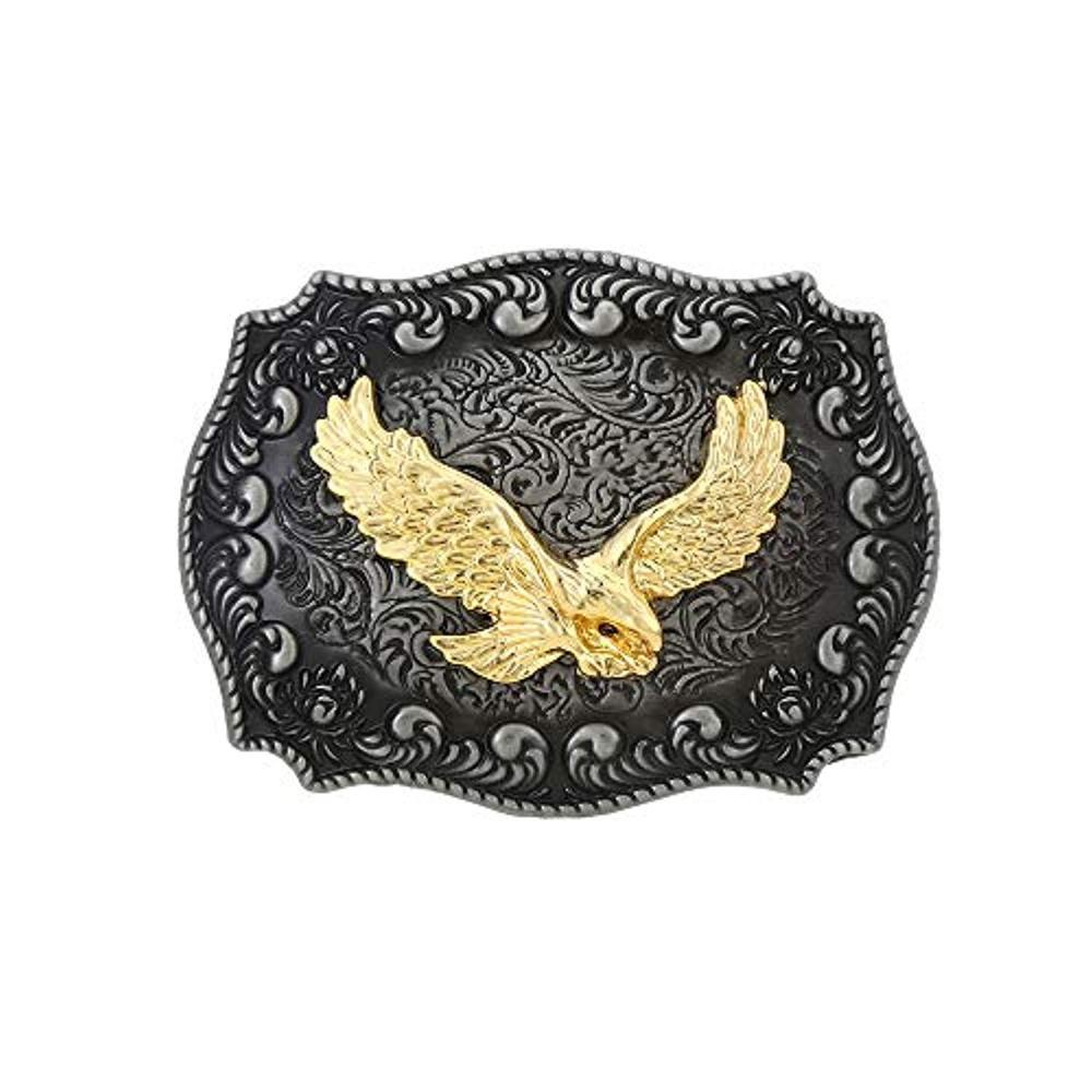 Gold Eagle  Rectangle Shape Belt  Buckle For Man Western Cowboy Buckle Without Belt Custom Alloy Width 4cm