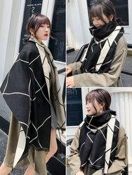 Женский зимний шарф, Корейская версия, смешанный и подходящий, двусторонний, в клетку, длинный, шаль, осенний, двойного назначения, сетка, Кра...
