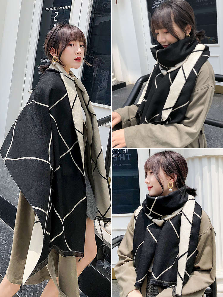Scarf Women Winter Korean Version Mix And Match Double-sided Plaid Long Shawl Autumn Dual-purpose Net Red Fashion British Bib