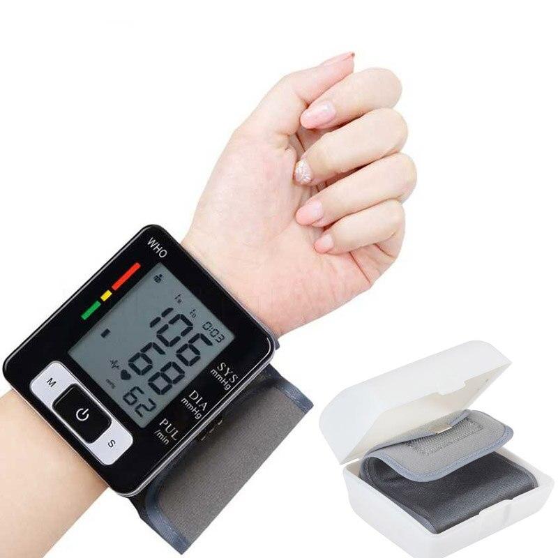 Portable Tonometer Cuff Wrist Sphygmomanometer Blood Presure Meter Monitor LCD Heart Beat Pulse Rate BP Machine Measurement Tool