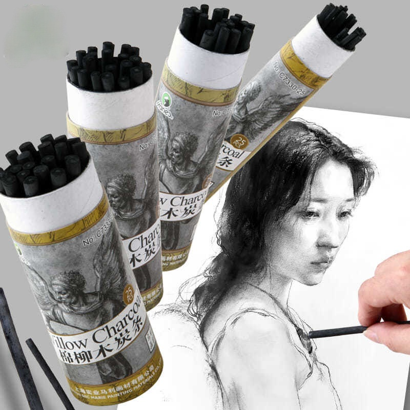Cotton willow charcoal strips carbon rods art  charcoal fine  strips sketch drawing sketches Sketch charcoal pen drawing robot