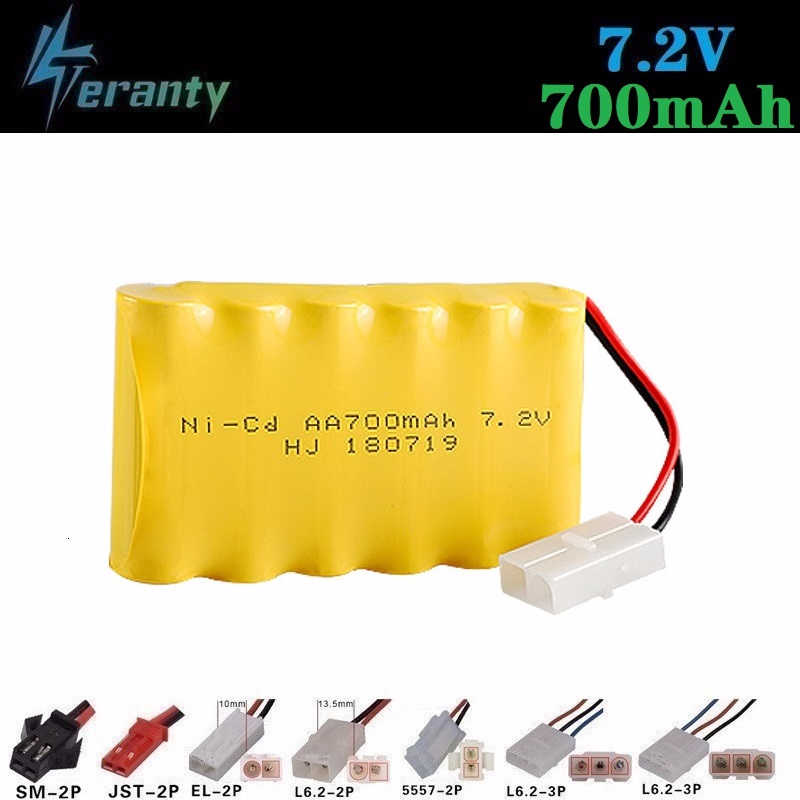 Upgrade 7.2v 700mah NiCD Battery + charger For Rc Toys Cars Tanks Trucks Robot Gun Boat AA Ni-CD 7.2v Rechargeable Battery Pack