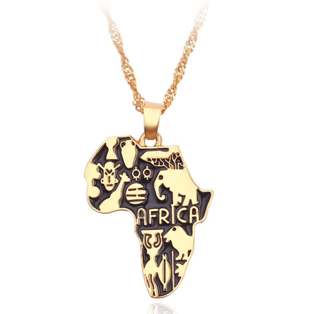 היפ הופ סגנון קלאסי אפריקה מפת תליון שרשרת האתיופית עבור נשים וגברים תכשיטי שרשרת & תליון טוב הנצחה מתנה