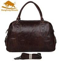 DongFang Miracke Vintage Genuine Leather Men's Classic Travel Bag Luggage Handbag Large Capacity Cross Body Duffle Bag Huge 17