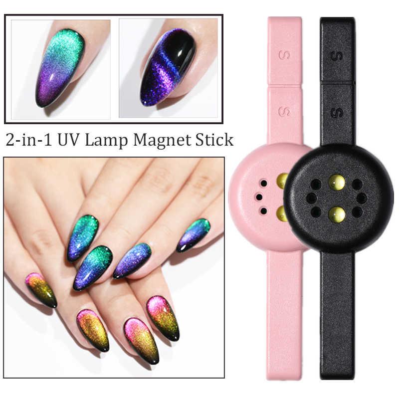2 In 1 Double Headed Magnetic Nail Stick UV Lamp Pink Emas Hitam Kabel USB Mini Curing LED Lampu Kucing eye Gel Kuku Alat