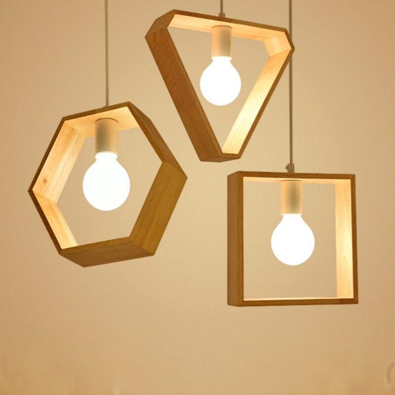 Modern Led Solid Wood Pendant Light Warm Geometry Living Room Bedroom Bar Light Home Decor Light Fixtures Kitchen Hanging Lamps