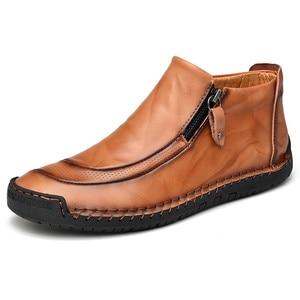 Image 2 - Nuevos zapatos de cuero para hombre, para Otoño Invierno, cosido a mano, suaves, resistentes al desgaste, con cremallera lateral, zapatos casuales de moda