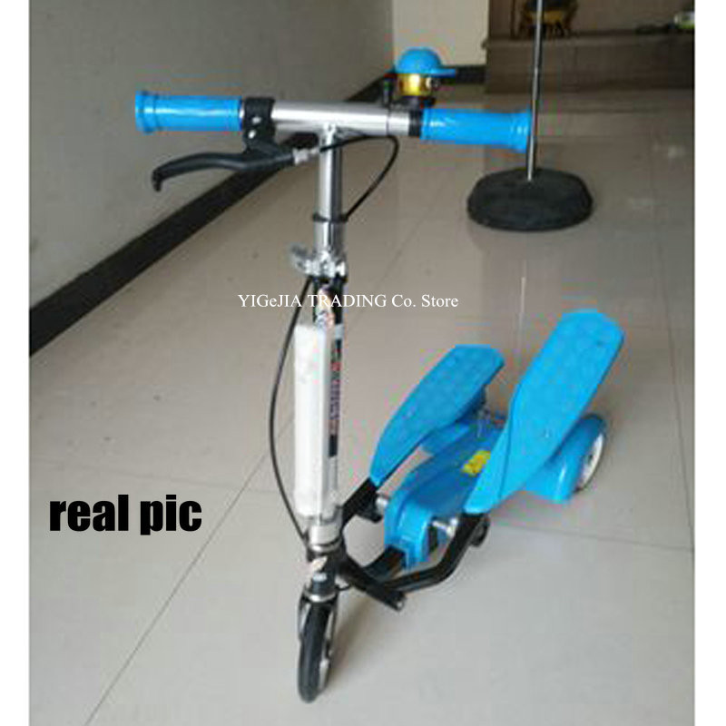 Купить с кэшбэком Easy Ride Kids 2 Pedal Scooter with Hand Brake, Double Pedal Scooter With Protective Gear, Fitness Scooter with Adjust height