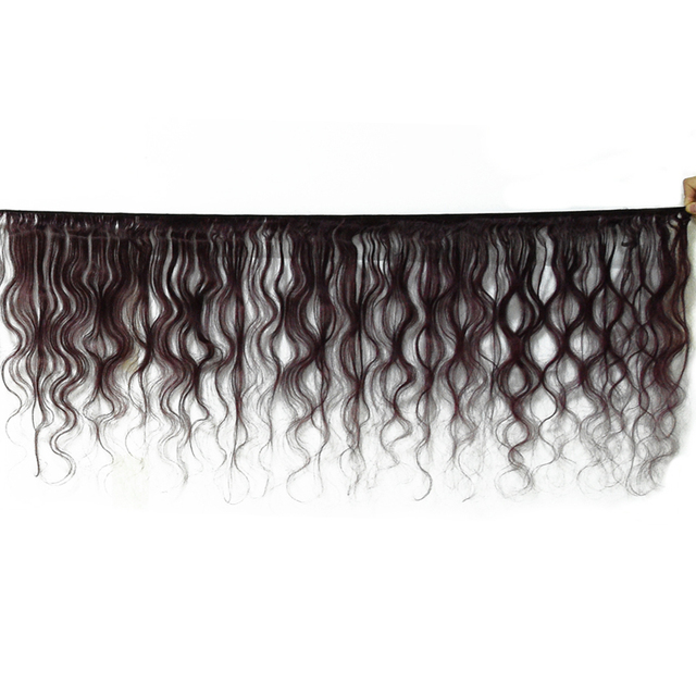 HairUGo Malaysian Body Wave Hair Bundles With Closure 99J Burgundy Ombre Human Hair Bundles With Closure Non Remy Hair Weaving 2