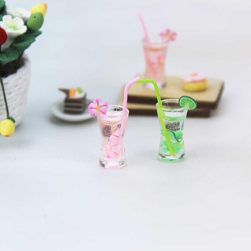 1/12 מטבח חדר מזון לשתות כוס עבור בובת DIY מיניאטורות בית בובות דובדבן פריחת כוס MiniWorld בובות אבזרים