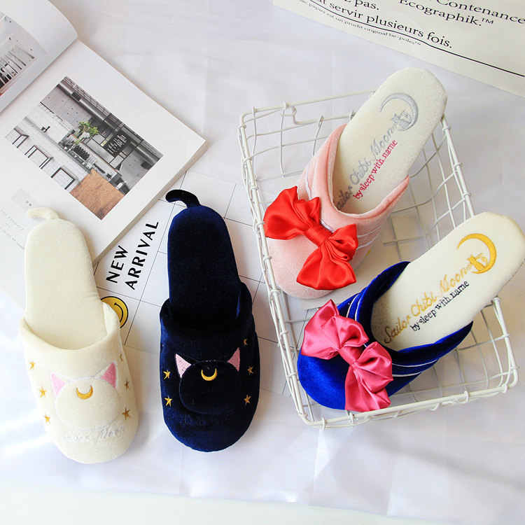 Sailor Moon The Cat Luna Bowknot Cute Home Cotton Soft Flannel Slipper Indoor Daily Non-slip Floor Girl's Shoes Gift Cosplay