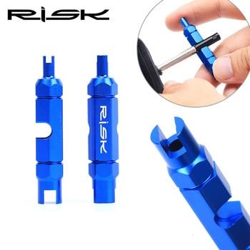 RISK-llave de tubo de aluminio para bicicleta Schrader Presta, herramientas de reparación de neumáticos multifunción, varilla de extensión