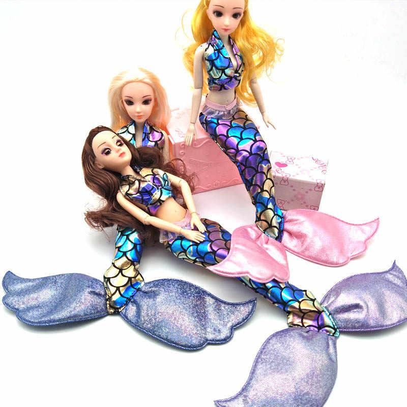 Ropa de sirena colorida de alta calidad para muñeca Barbie sujetador falda cola de pez vestido para 1/6 BJD muñeca Cosplay accesorio de disfraz de muñeca