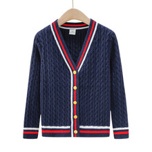 2019 New Autumn Winter Childrens Sweaters Teenager School Boys Girls Knitted V-neck Long Sleeve Cardigans Jacket Kids Coat