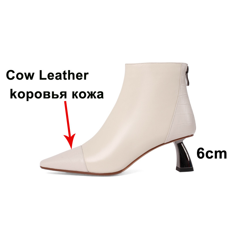 Meotina Ankle Boots Women Shoes Real Leather High Heel Lady Boots Pointed Toe Strange Style Heels Zip Short Boots Autumn Winter