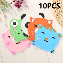 10PCS/lot Cartoon Coaster Slip Insulation Silicone Pad mat for Hot Drink Glass Coffee Holder Table Placemat Creative Coasters