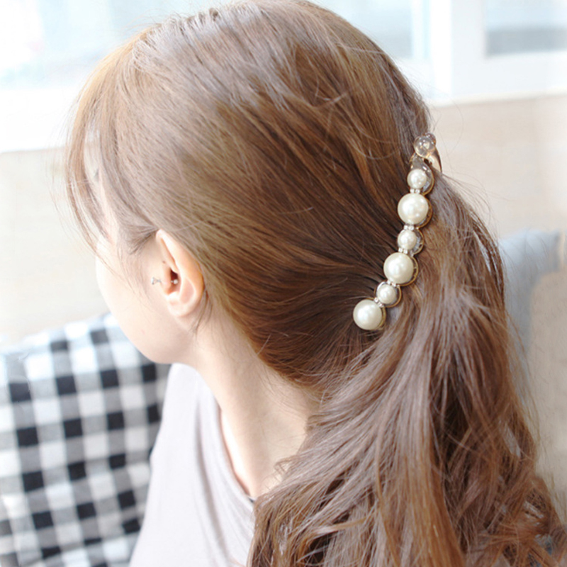 1Pc Simulated Pearls Hairpins Hair Clips Jewelry Banana Clips   Headwear   Accessories Women Hairgrips Girl Ponytail Barrettes 2019