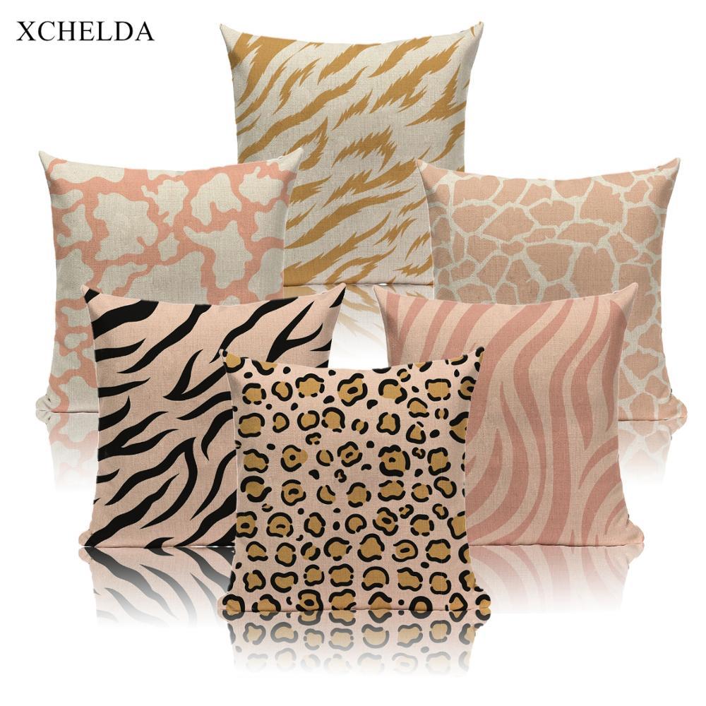 Animal Skin Pattern Cushion Cover Scandinavian Style Decorative 45 45 Linen Throw Pillow Case For Sofa Car Seat Pillowcase Cushion Cover Aliexpress