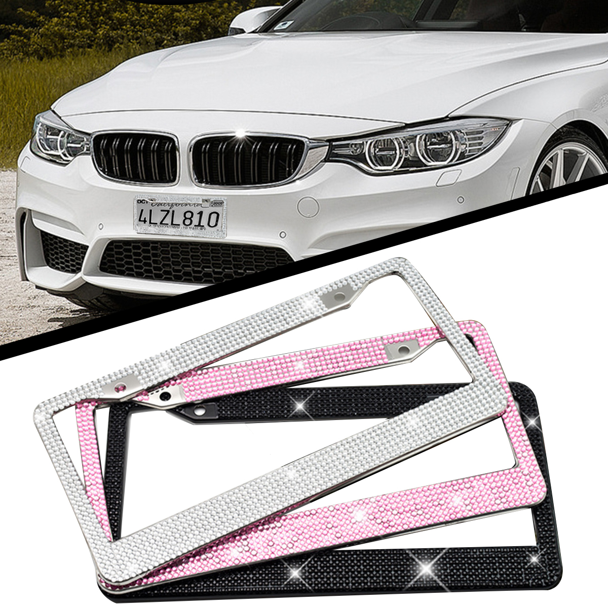 Car type diamond cutting rhinestone license plate frame - cute shiny stainless steel frame plate - flash crystal car accessories