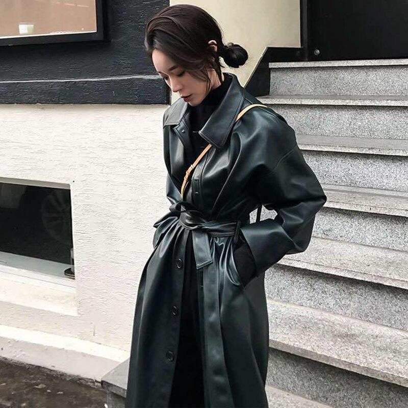 Vintage 2019 spring coat women biker PU   leather   jacket black long trench coat loose Belt Windbreaker black outwear Female PY57