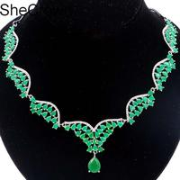 Stunning Real Green Emerald CZ Woman's Party Silver Necklace 18 18.5in 41x33mm