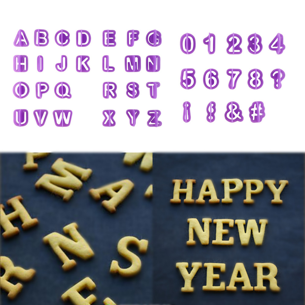 40Pcs DIY Alphabet Letter Number Cupcake Mold <font><b>Fondant</b></font> Cutter <font><b>Cake</b></font> <font><b>Decorating</b></font> <font><b>Tools</b></font> Upper Capital Cut-Outs Cookie Cutter New Year image