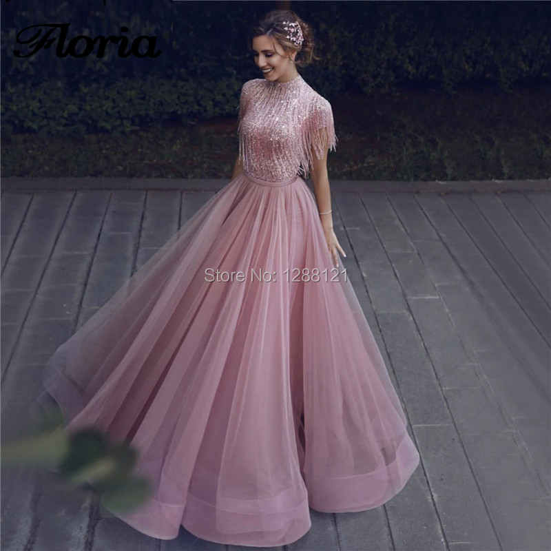 Arabic Couture New Tassel Prom Dresses A Line 2019 Latest Islamic Aibye Party Gown Middle East Beading Evening Dresses Custom