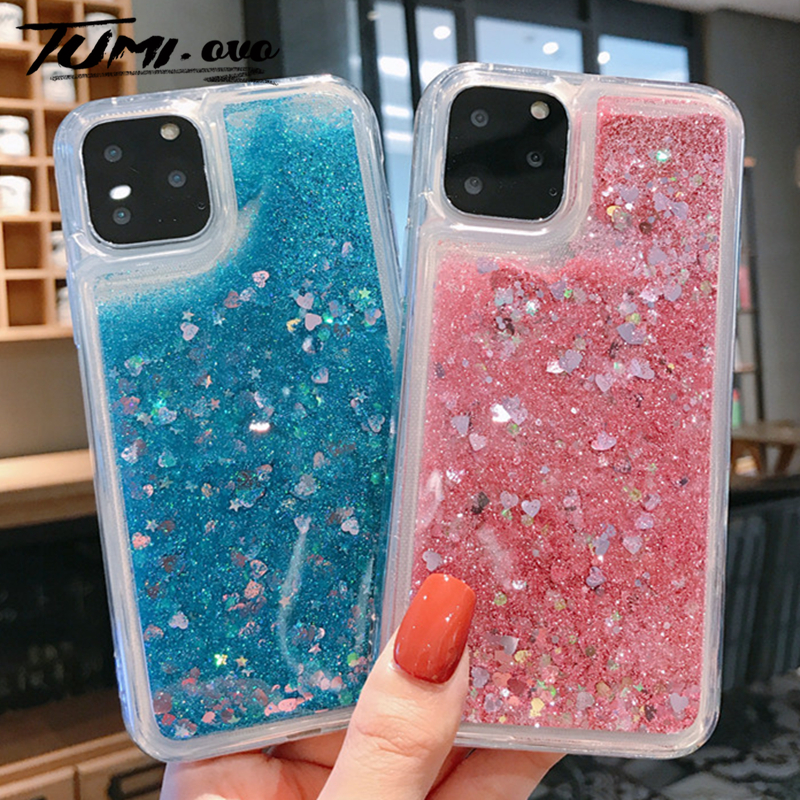 Love Heart Glitter Case For iPhone 11 Pro Max XR XS X 8 7 6S 6 Plus 5S 5 SE Soft Liquid Quicksand Case For iPhone 11 Pro Cover