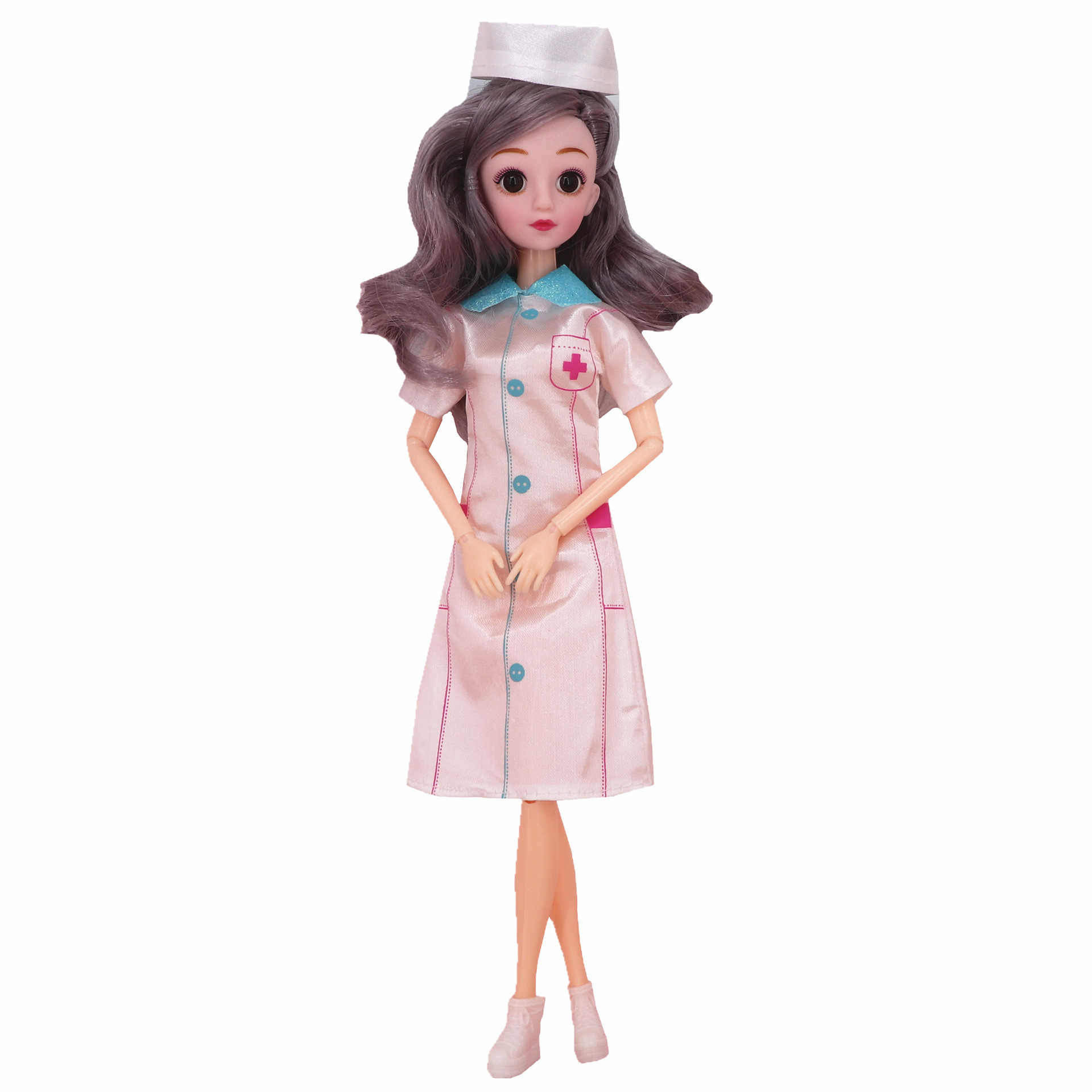 Nk 2 set/lote boneca brinquedos moda roupas uniforme + chapéu anjo branco feminino enfermeira vestir-se brinquedos para boneca barbie cosplay
