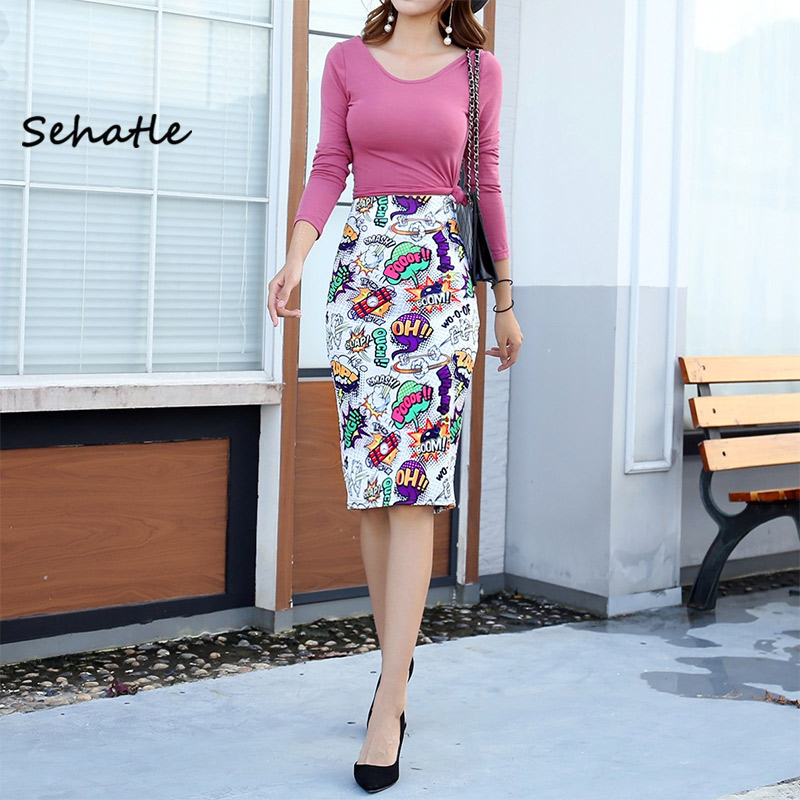 Sehatle 2020 Summer New Sexy Women Long Midi Skirts Casual Street Beach Clothes Floral Pleated Pencil Skirt Polyester Clothing