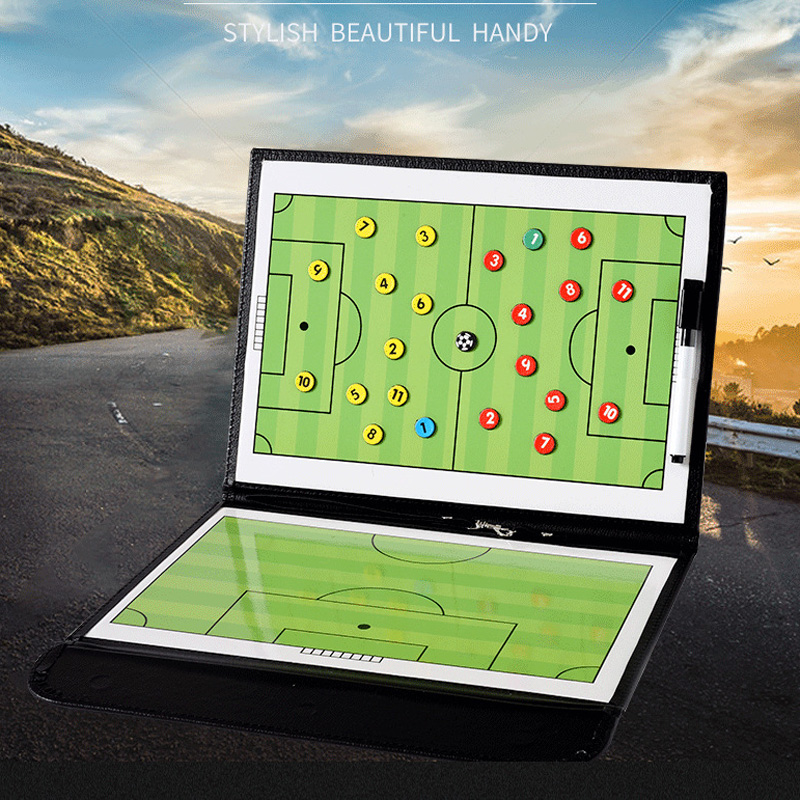 Foldable Portable Football Coach Board PU Leather Football Training Soccer Accessories Magnetic Tactic Clipboard With Pen Tool