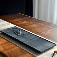 Rectangular Stone Leaf Tea-Tray Sculpted Reliefs Natural Black Rock Plate Kung Fu Tea Set Home Decoration Table Office Decor