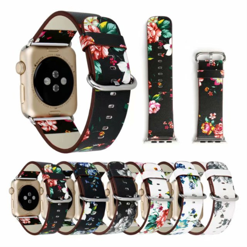 For Apple Watch Strap APPLE Watch1/2/3/4 Generation Printed Genuine Leather IWatch Watch Band 38 Mm
