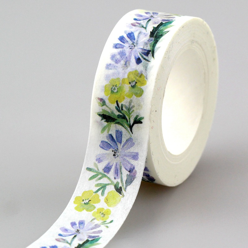 10pcs/lot Decorative Blue And Yellow Flowers Washi Tapes Paper DIY Scrapbooking Planner Adhesive Masking Tapes Kawaii Stationery