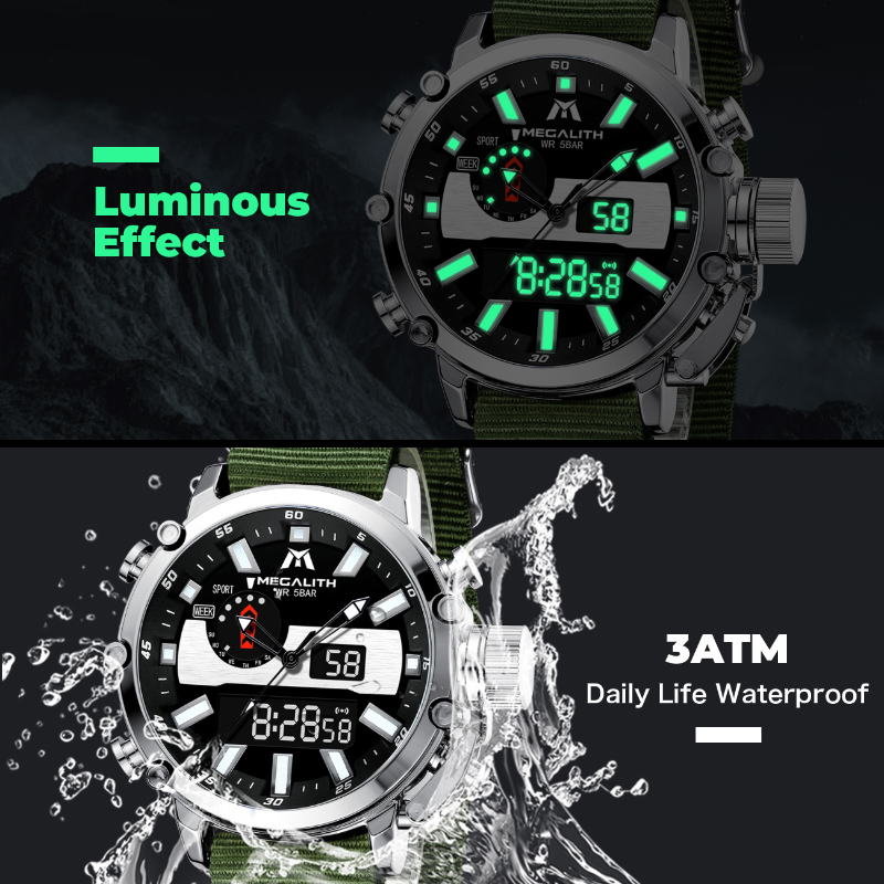 MEGALITH Mens Digtal Watch Dropshipping Sport Military Analog Quartz Multifunction Dual Display Watch with Alarm Stopwatch 8229 5