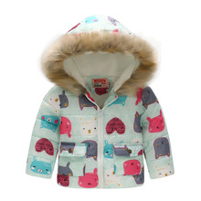 kids wear boy girl winter cotton clothes coat hooded jacket outerwear plus velvet warm 2019 hot sale quality 2-7y child clothing