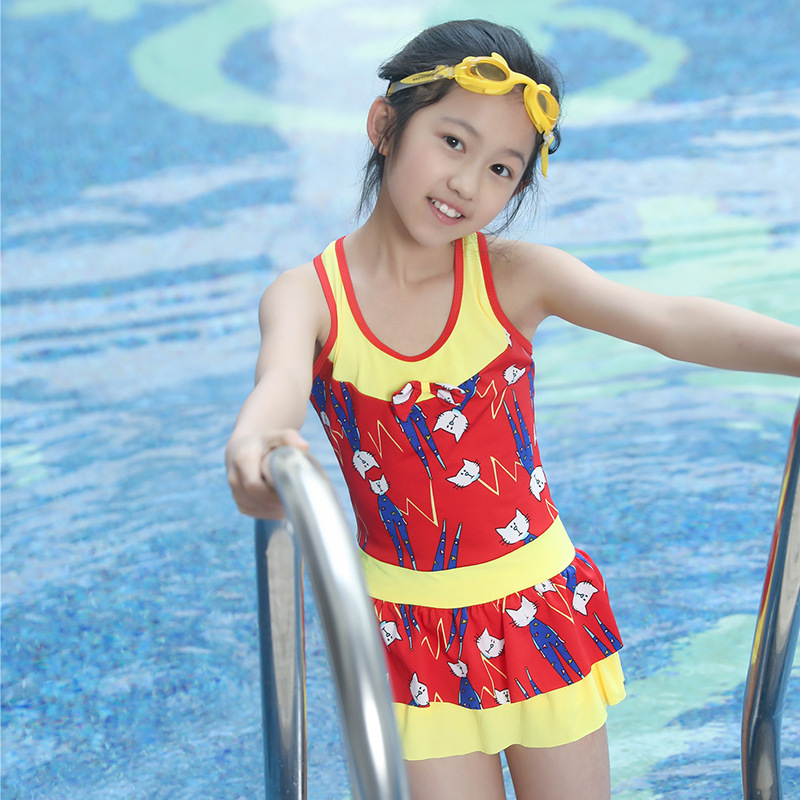New Style One-piece Swimming Suit 6-9-Year-Old GIRL'S Swimsuit Korean-style Cat Printed Children Tour Bathing Suit-