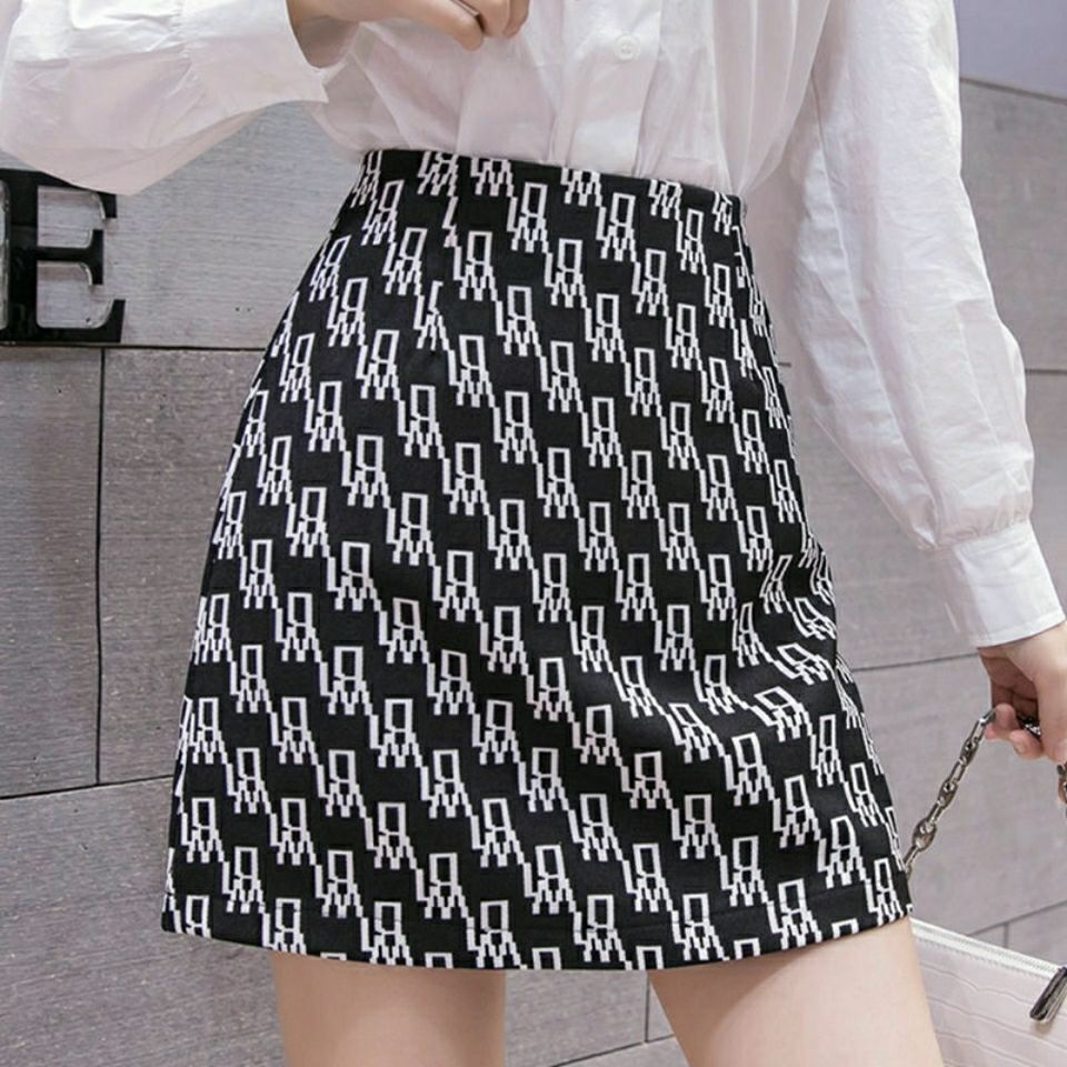 Women High waist Skirt short Spring Autumn Casual Kawaii A-line Skirts Japanese School Uniform Letter printing Mini Skirts 2