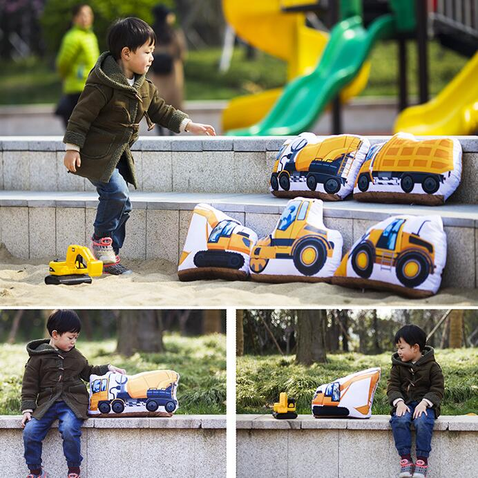 Candice Guo Plush Toy Cartoon Car Engineering Vehicle Fire Truck Excavator Pillow Cushion Christmas Present Birthday Gift 1pc