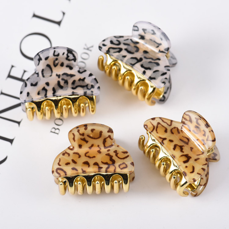 2pcs Girl Kids Leopard Mini Hair Claw Clamp Small Hairpins Crab Gold Crab For Hair Tins Clamps Hair Accessories 1.57in 0.98in