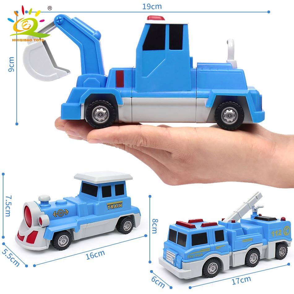 10PCS Construction Engineering Excavator Magnetic Building Blocks DIY Magic Train Truck Vehicle educational Toys For Children 3
